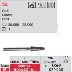 Fraise diamantée dans la masse cône bout plat (gros grain) - 5209HP