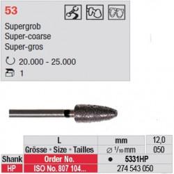 Fraise diamantée dans la masse flamme (très gros grain) - 5331HP