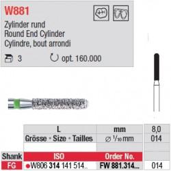 Diamant WhiteTIGER cylindre bout arrondi (grain fin) - FW881.314.014
