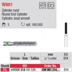 Diamant WhiteTIGER cylindre bout arrondi (gros grain) - GW881.314.014