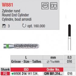 Diamant WhiteTIGER cylindre bout arrondi (gros grain) - GW881.314.016