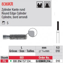 G 836KR.314.010-Cylindre, bord arrondi