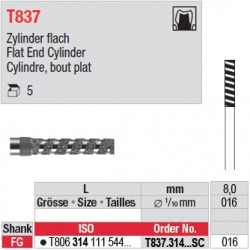 T837.314.016SC - Cylindre, bout plat