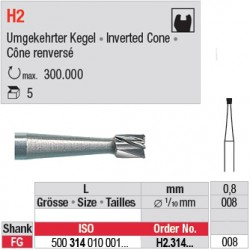 H2.314.008 - Fraise carbure de tungstène - Cône renversé FG