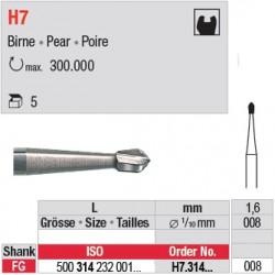 H7.314.008 - Fraise carbure de tungstène - FG - Poire