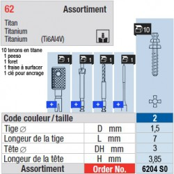 6204SO - Assortiment tenons taille 2 (courts)