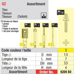 6206SO - Assortiment tenons taille 3 (courts)