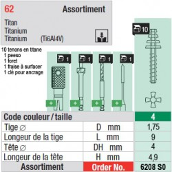 6208SO - Assortiment tenons taille 4 (courts)