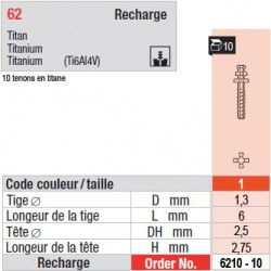 6210-10 - recharge tenons taille 1 (courts)