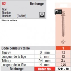 6211-10 - recharge tenons taille 1 (longs)