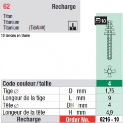 6216-10 - recharge tenons taille 4 (courts)