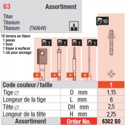 6302SO - Assortiment tenons taille 1 (courts)