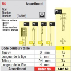 6406SO - Assortiment tenons taille 3 (courts)