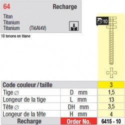 6415-10 - recharge tenons taille 3 (longs)