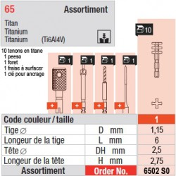6502SO - Assortiment tenons taille 1 (courts)