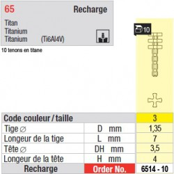 6514-10 - recharge tenons taille 3 (courts)