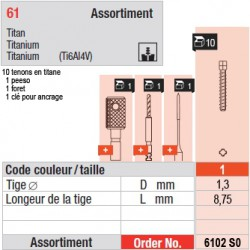 6102SO - Assortiment tenons taille 1 (courts)