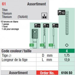 6106SO - Assortiment tenons taille 4 (courts)