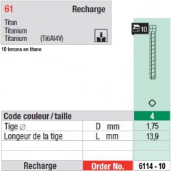 6114-10 - recharge tenons taille 4 (courts)