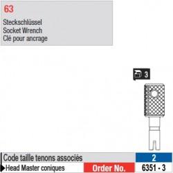6351-3 - Clé pour ancrage tenons Head Master conique taille 2