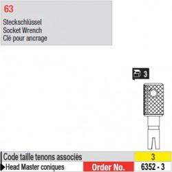 6352-3 - Clé pour ancrage tenons Head Master conique taille 3