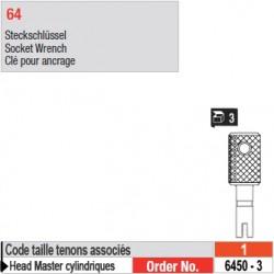 6450-3 - Clés pour ancrage de tenons Head Master cylindriques taille 1