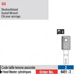 6451-3 - Clés pour ancrage de tenons Head Master cylindriques taille 2