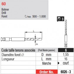 6026-3 - Forets pour tenons Post Master taille 6 (manche court)