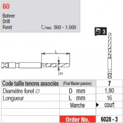 6028-3 - Forets pour tenons Post Master taille 7 (manche court)