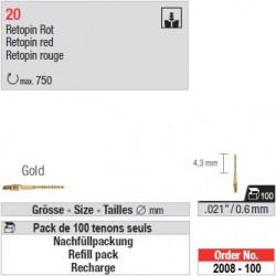 """2008-100 - Recharge de 100 tenons """"Retopins"""" Or"""