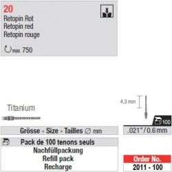 "2011-100 - Recharge de 100 tenons ""Retopins"" Titane"