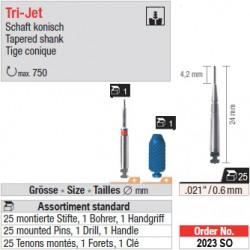 2023SO - Assortiment standard de tenons TriJet 0,6 mm