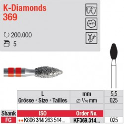 KF369.314.025 - K-Diamonds bouton - grain fin