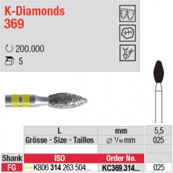 KC369.314.025 - K-Diamonds bouton - grain super fin