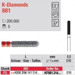 KF881.314.016 - K-Diamonds cylindre bout arrondi - grain fin