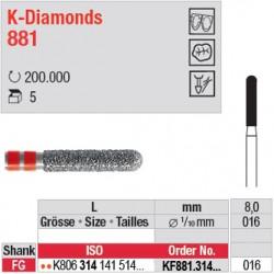 KF881.314.016 - K-Diamonds cylindre bout arrondi - grain fin