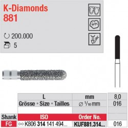 KUF881.314.016 - K-Diamonds cylindre bout arrondi - grain ultra fin