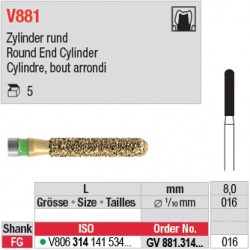 GV881.314.016 - DIACUT - Cylindre, bout arrondi
