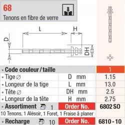 6810-10 Recharge - FiberMaster, conique avec tête