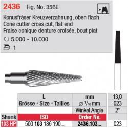 Fraise conique denture croisée, bout plat - 2436.103.023
