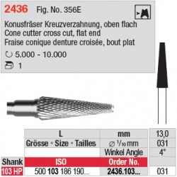 Fraise conique denture croisée, bout plat - 2436.103.031