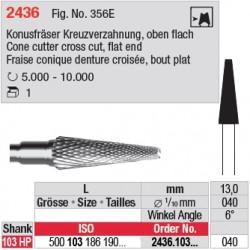 Fraise conique denture croisée, bout plat - 2436.103.040