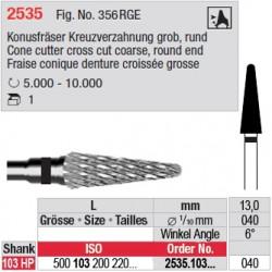 Fraise conique denture croisée grosse - 2535.103.040