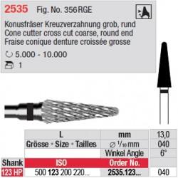 Fraise conique denture croisée grosse - 2535.123.040