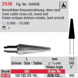Fraise conique denture croisée, bout arrondi - 2536.123.040