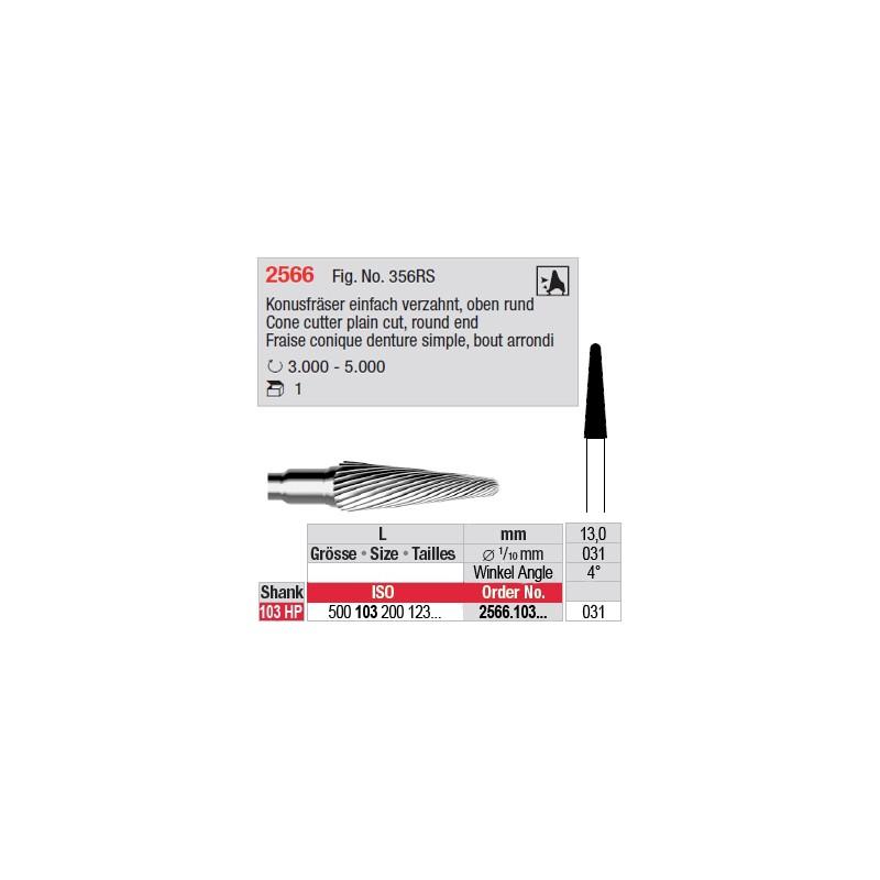 Fraise conique denture simple, bout arrondi - 2566.103.031