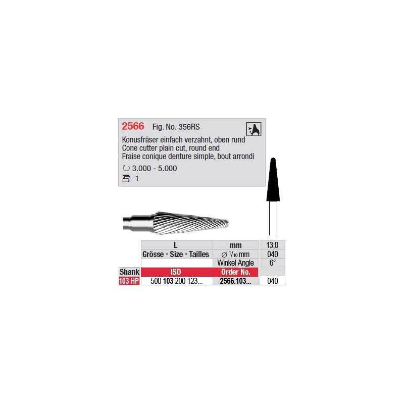 Fraise conique denture simple, bout arrondi - 2566.103.040