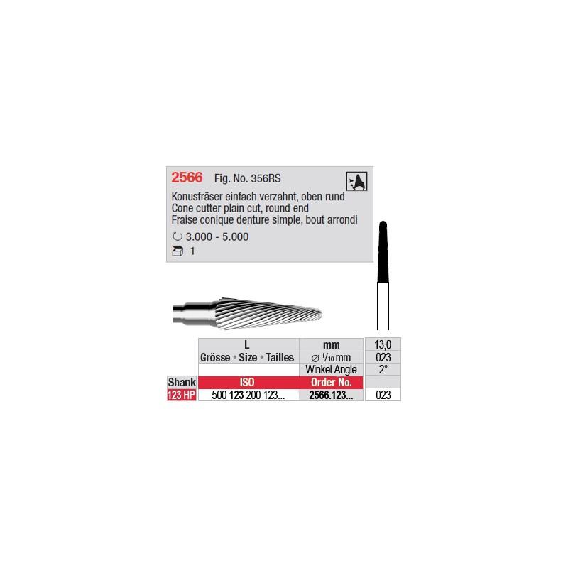 Fraise conique denture simple, bout arrondi - 2566.123.023