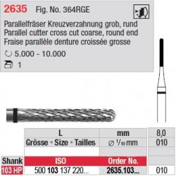 Fraise parallèle denture croisée grosse - 2635.103.010