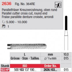 Fraise parallèle denture croisée, bout arrondi - 2636.103.015